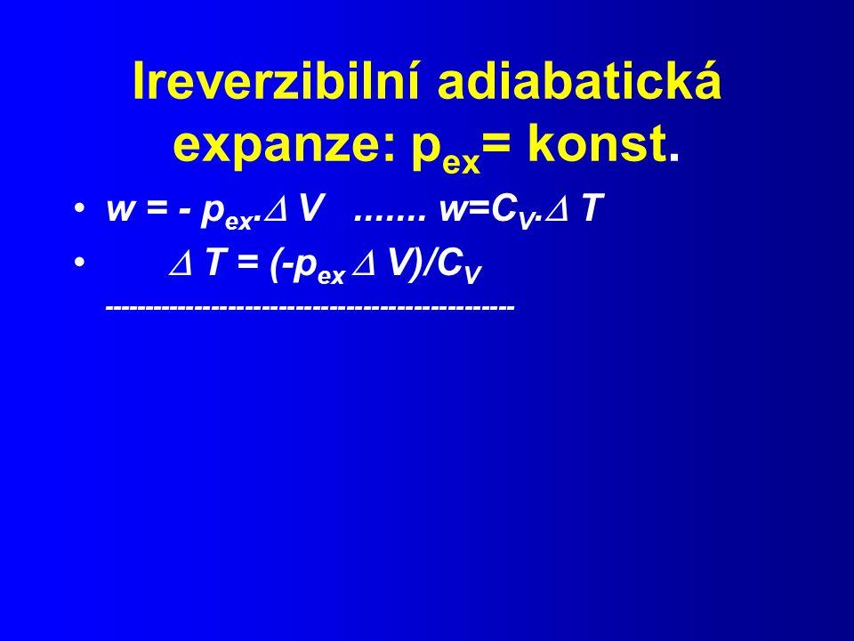 Ireverzibilní adiabatická expanze: pex= konst.