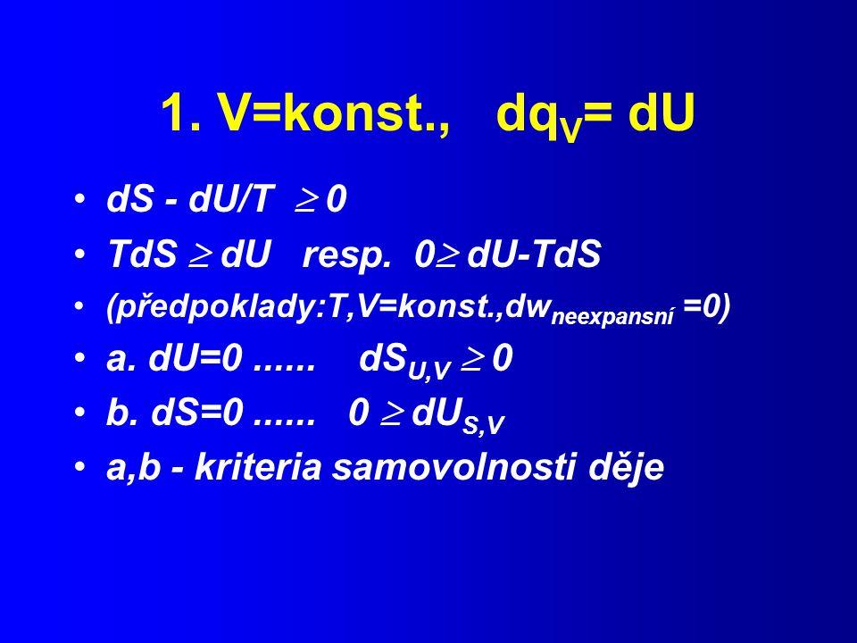 1. V=konst., dqV= dU dS - dU/T  0 TdS  dU resp. 0 dU-TdS