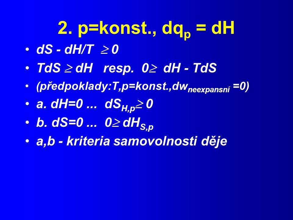 2. p=konst., dqp = dH dS - dH/T  0 TdS  dH resp. 0 dH - TdS