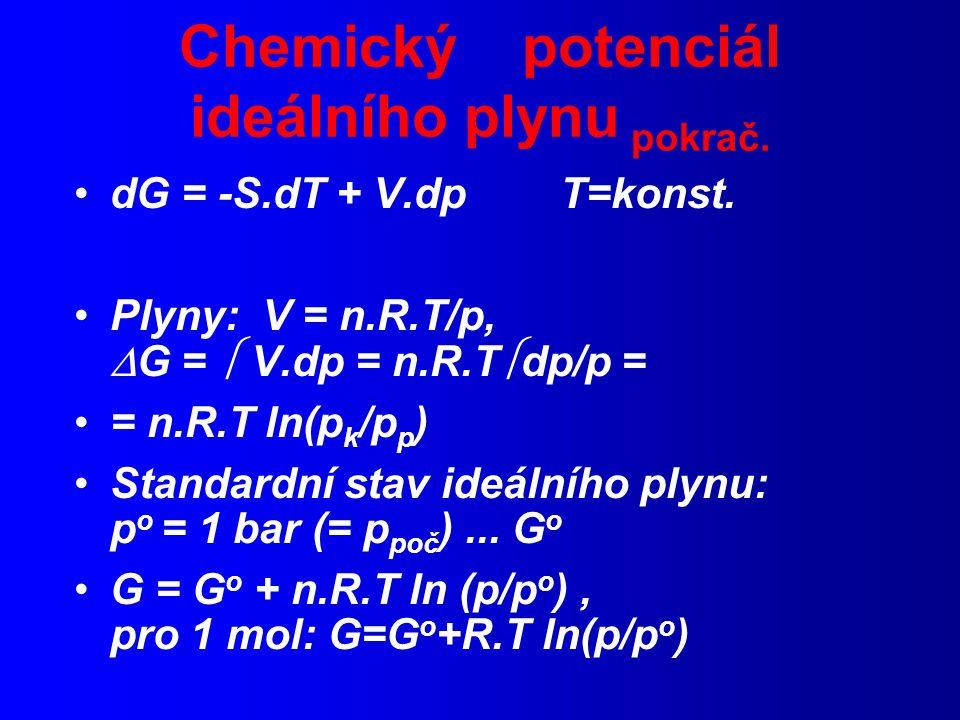 Chemický potenciál ideálního plynu pokrač.