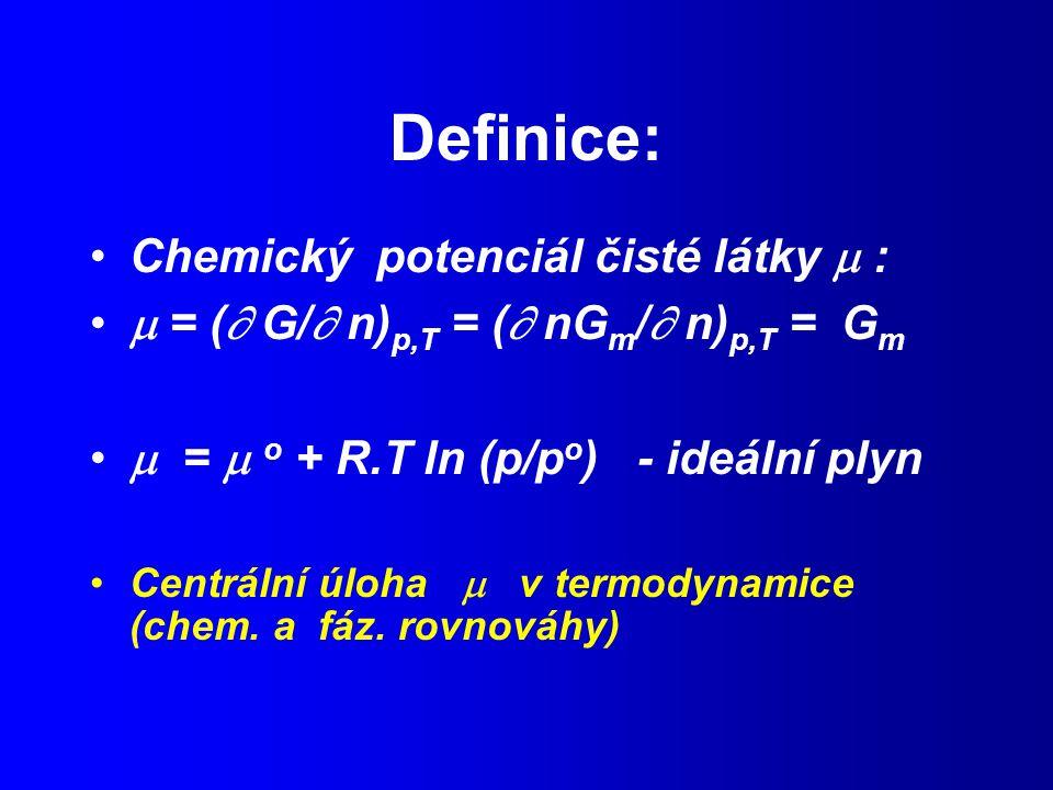 Definice: Chemický potenciál čisté látky  :
