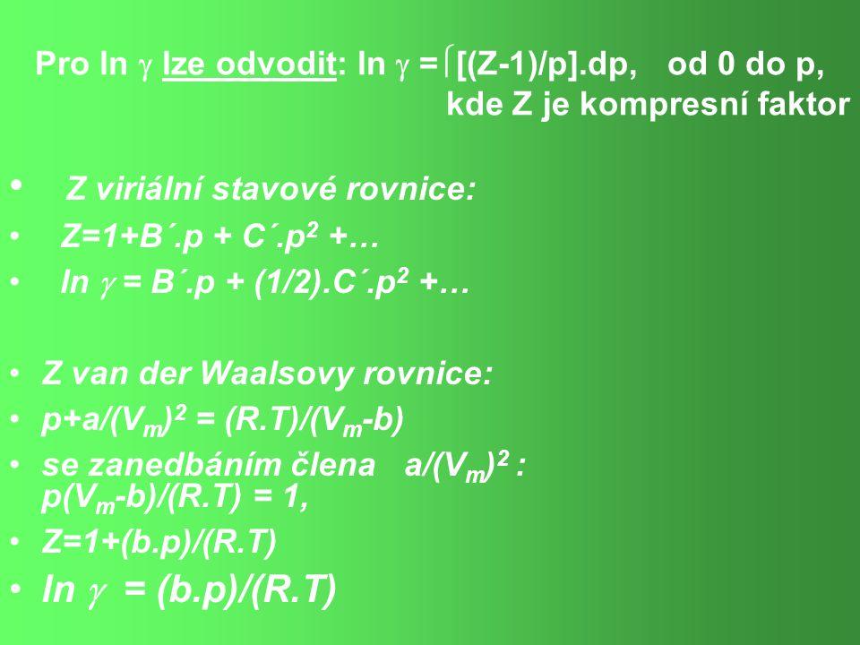 Z viriální stavové rovnice: