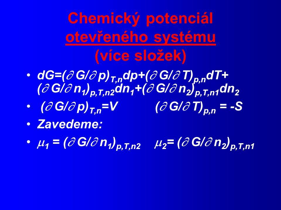 Chemický potenciál otevřeného systému (více složek)
