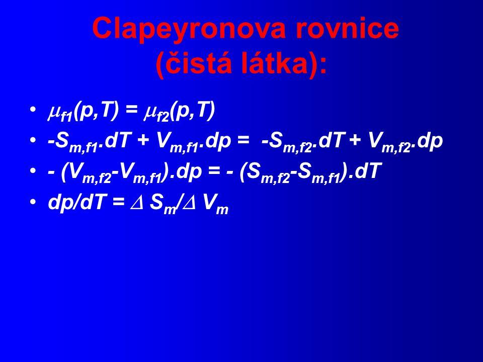 Clapeyronova rovnice (čistá látka):