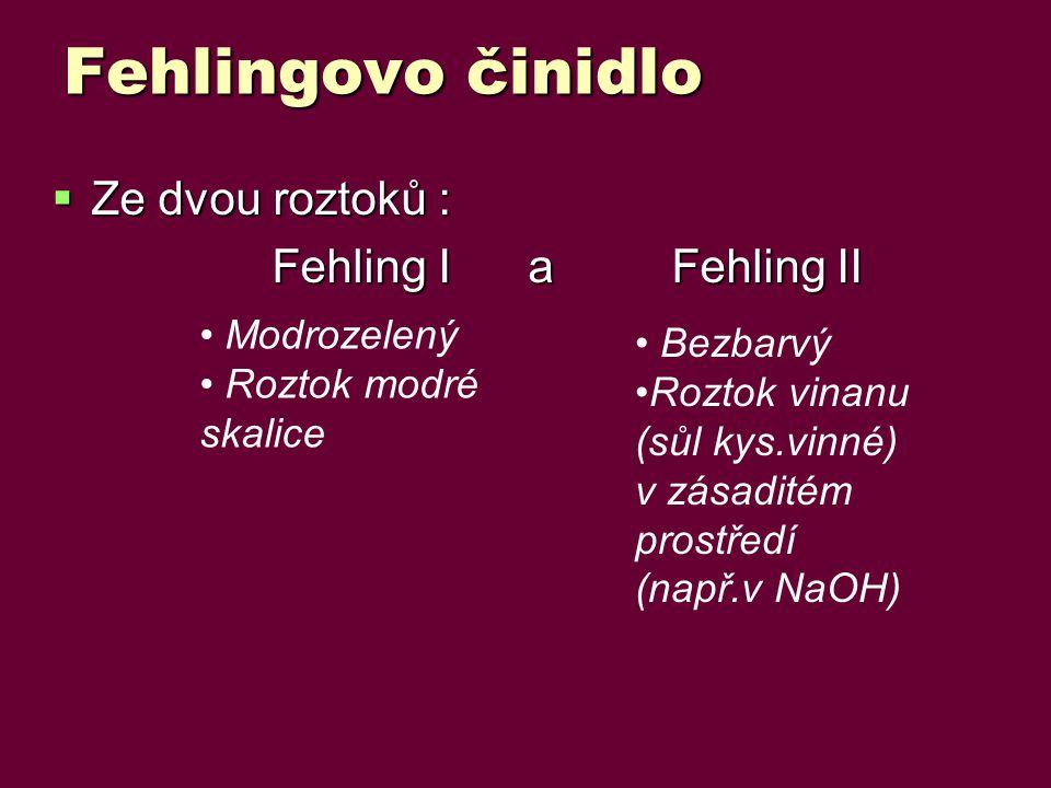 Fehlingovo činidlo Ze dvou roztoků : Fehling I a Fehling II