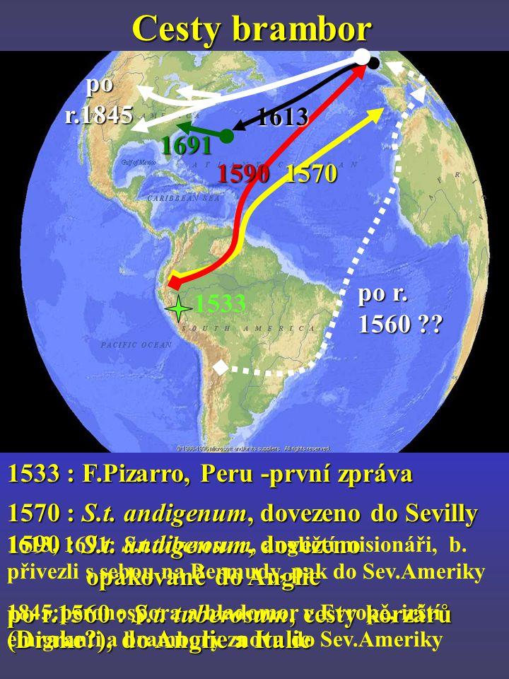 Cesty brambor po r.1845. 1613. 1691. 1590. 1570. po r. 1560 1533. 1533 : F.Pizarro, Peru -první zpráva.