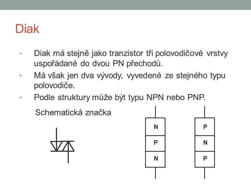 Diak Diak má stejně jako tranzistor tři polovodičové vrstvy uspořádané do dvou PN přechodů.
