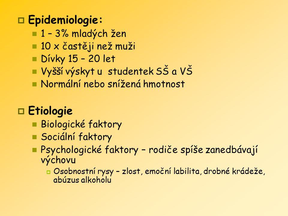 Epidemiologie: Etiologie 1 – 3% mladých žen 10 x častěji než muži