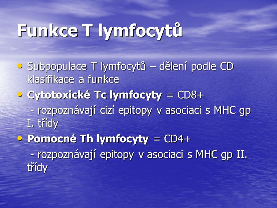 Funkce T lymfocytů Subpopulace T lymfocytů – dělení podle CD klasifikace a funkce. Cytotoxické Tc lymfocyty = CD8+