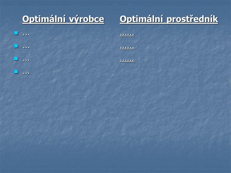 Optimální výrobce … Optimální prostředník ……