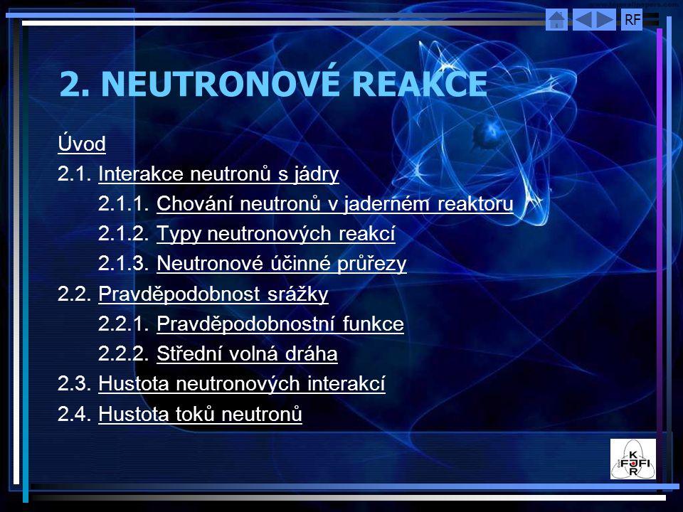 2. NEUTRONOVÉ REAKCE Úvod 2.1. Interakce neutronů s jádry