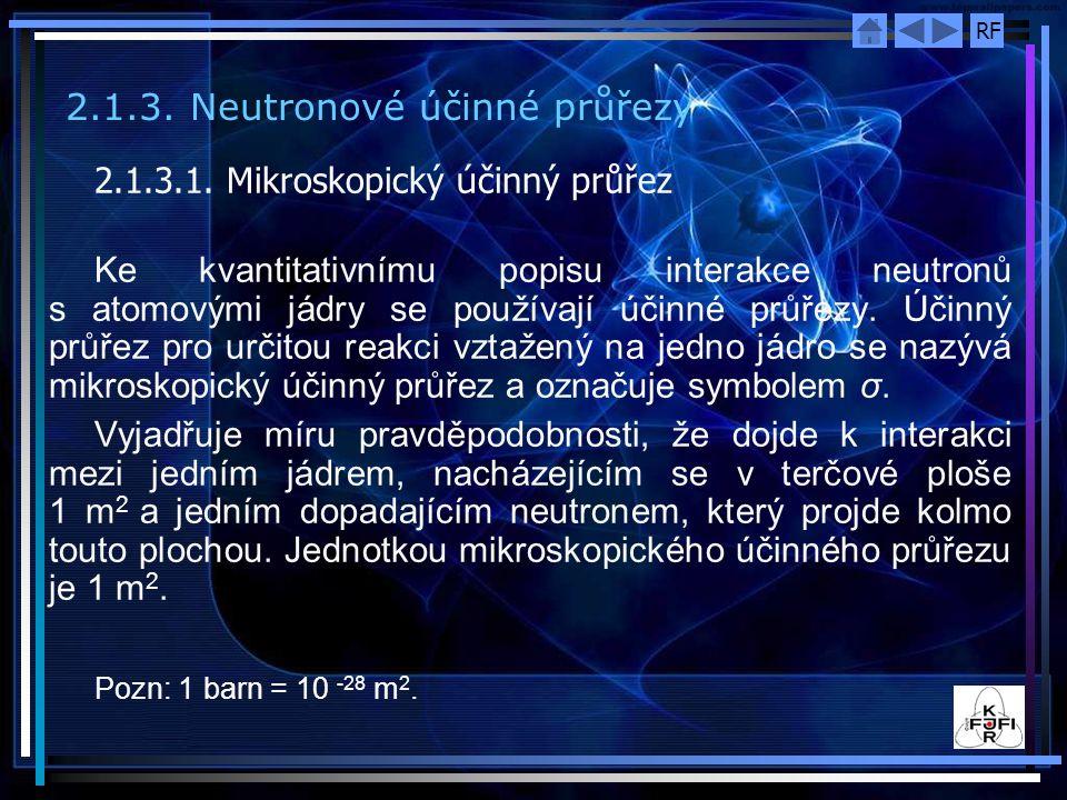 2.1.3. Neutronové účinné průřezy