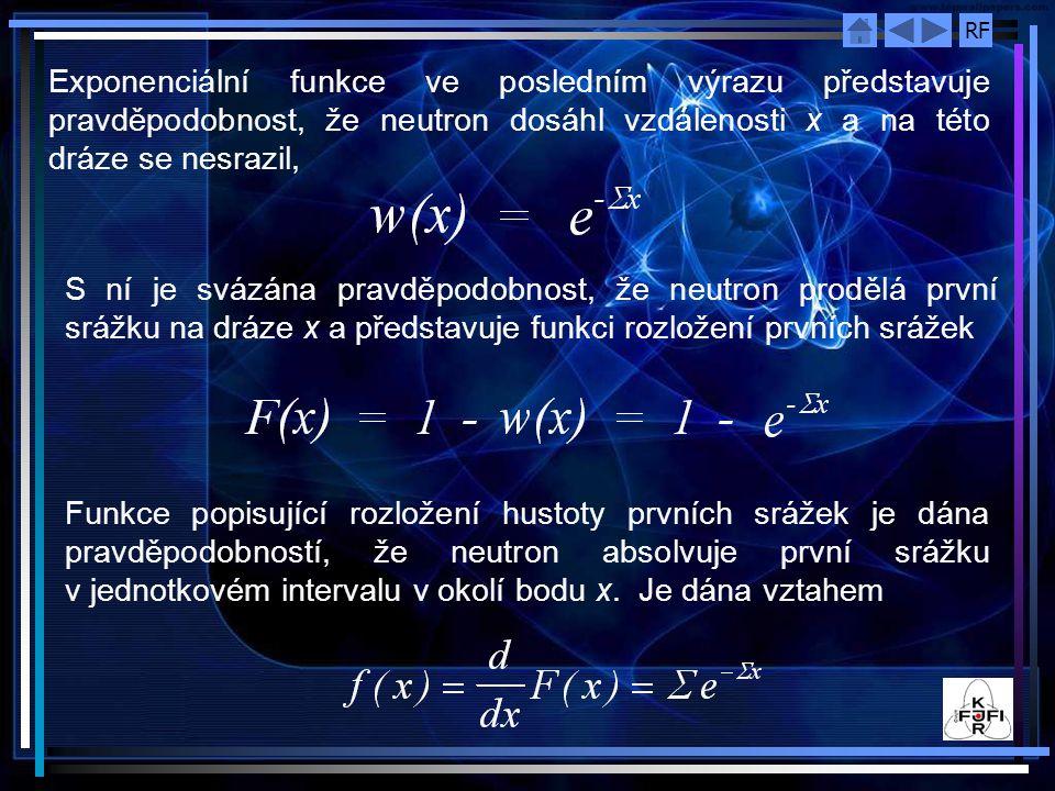 Exponenciální funkce ve posledním výrazu představuje pravděpodobnost, že neutron dosáhl vzdálenosti x a na této dráze se nesrazil,