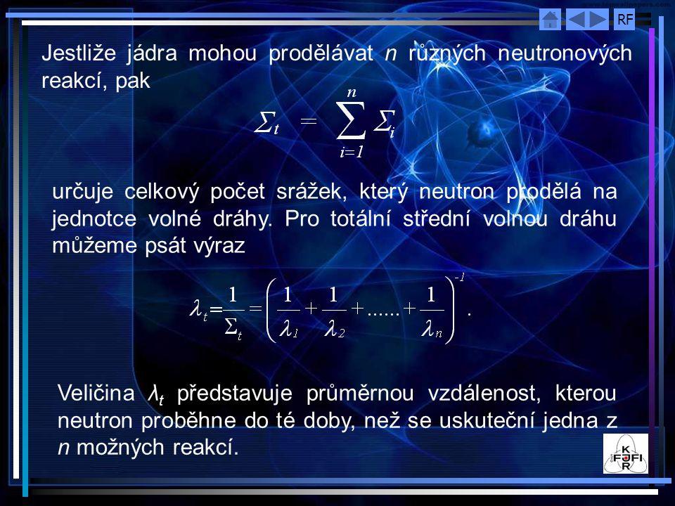 Jestliže jádra mohou prodělávat n různých neutronových reakcí, pak