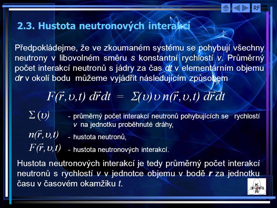 2.3. Hustota neutronových interakcí