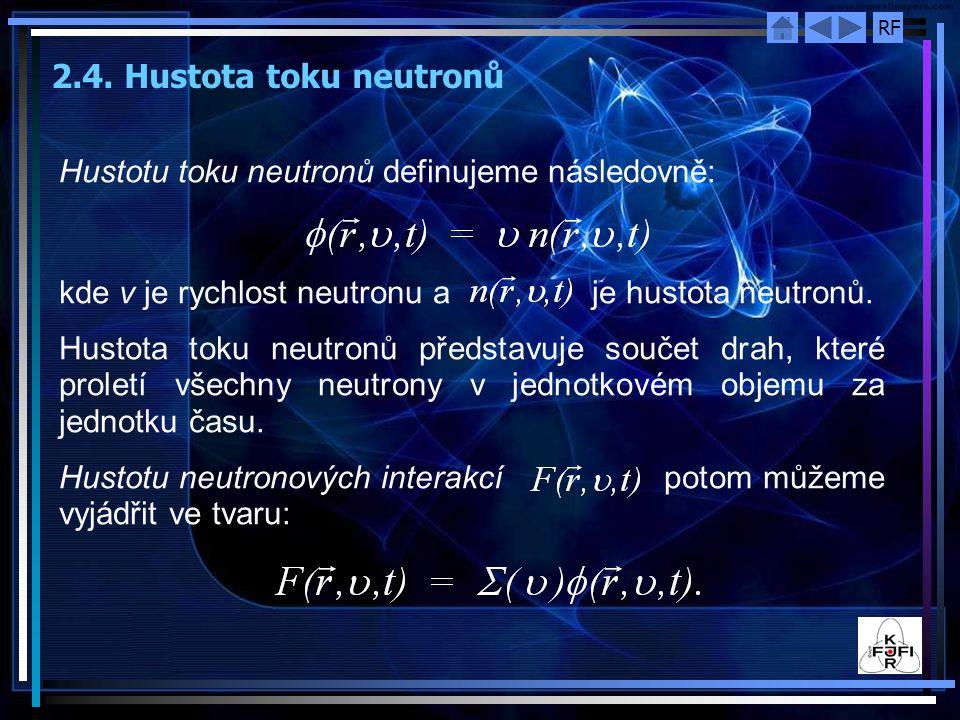 2.4. Hustota toku neutronů Hustotu toku neutronů definujeme následovně: kde ν je rychlost neutronu a je hustota neutronů.