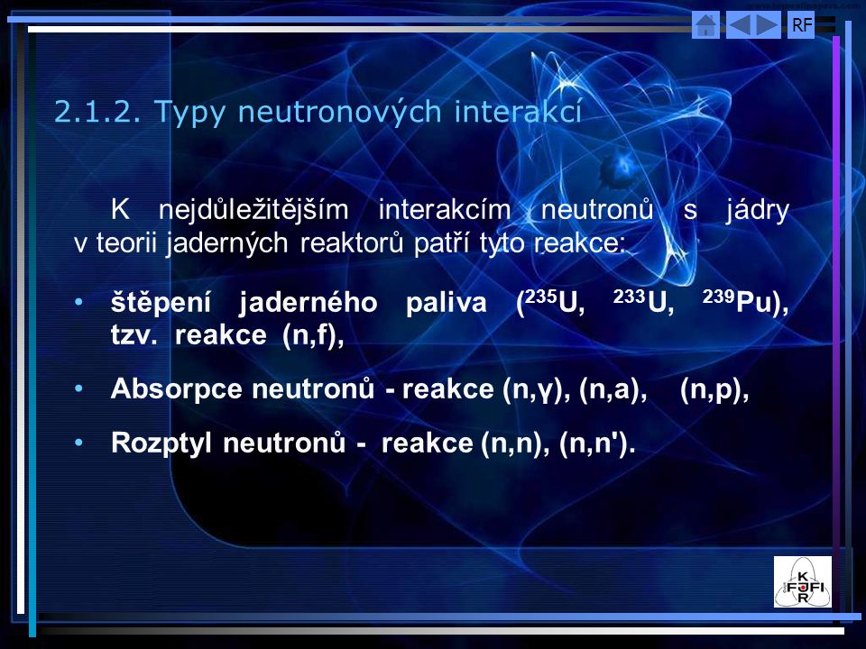 2.1.2. Typy neutronových interakcí