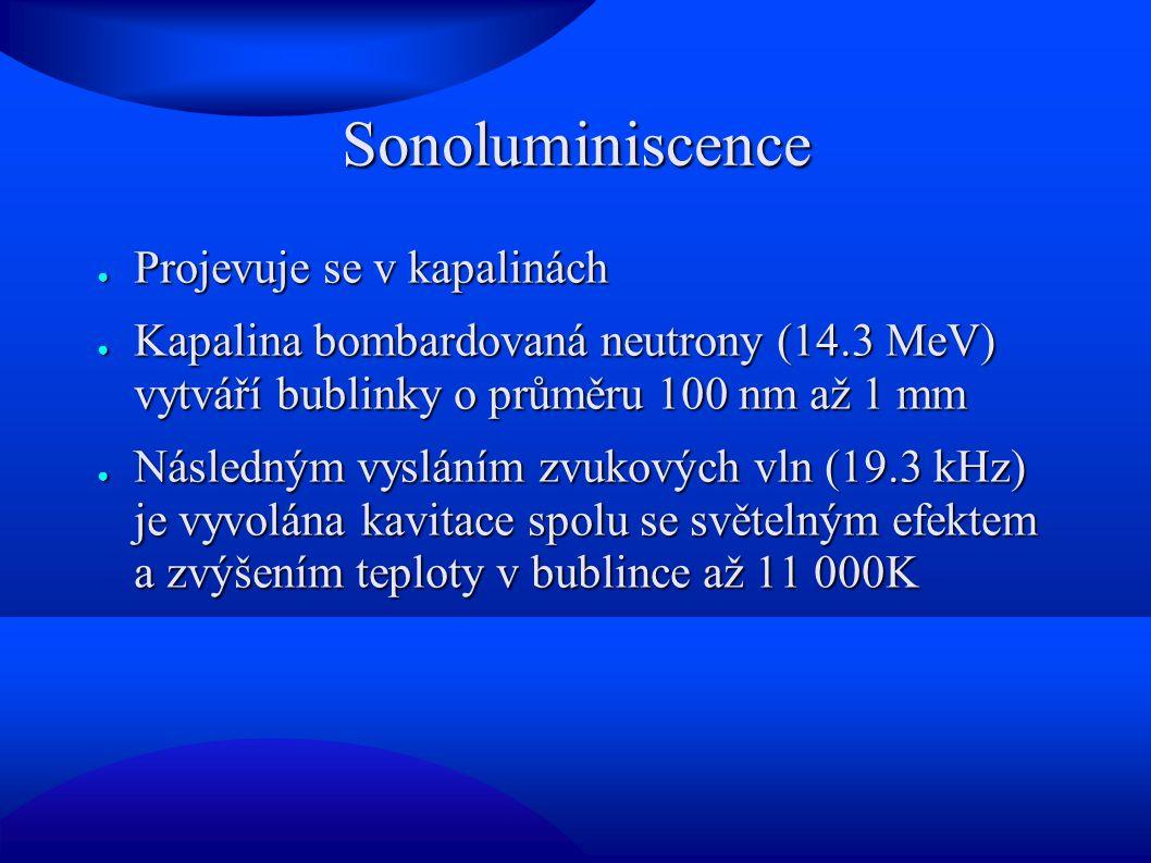 Sonoluminiscence Projevuje se v kapalinách