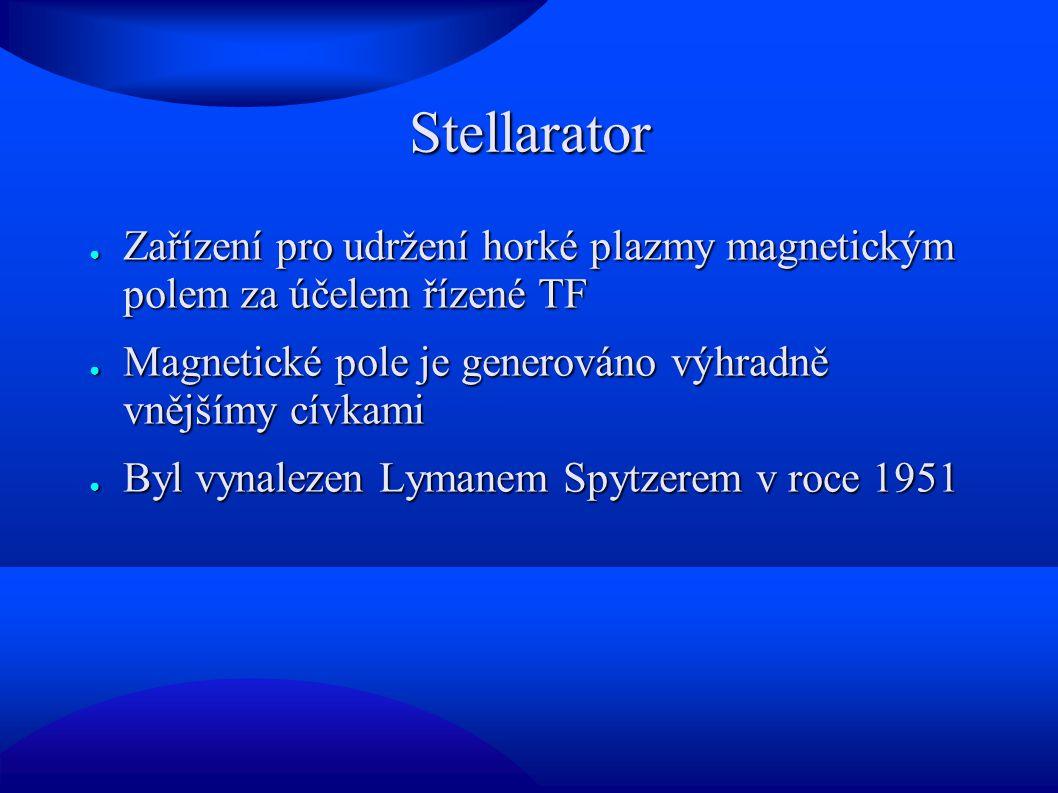 Stellarator Zařízení pro udržení horké plazmy magnetickým polem za účelem řízené TF. Magnetické pole je generováno výhradně vnějšímy cívkami.