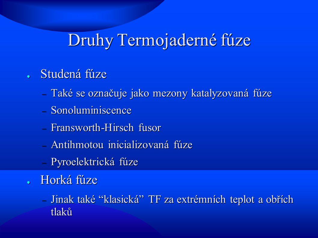 Druhy Termojaderné fúze