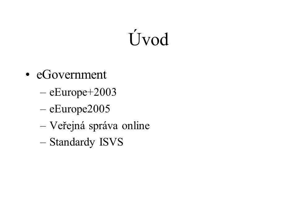 Úvod eGovernment eEurope+2003 eEurope2005 Veřejná správa online