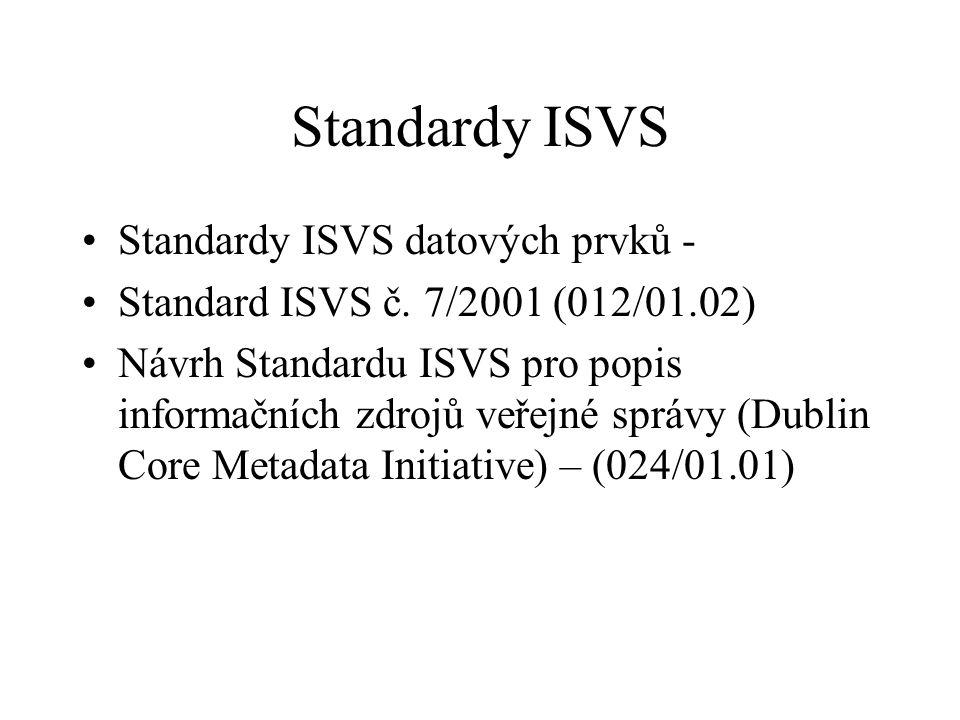 Standardy ISVS Standardy ISVS datových prvků -