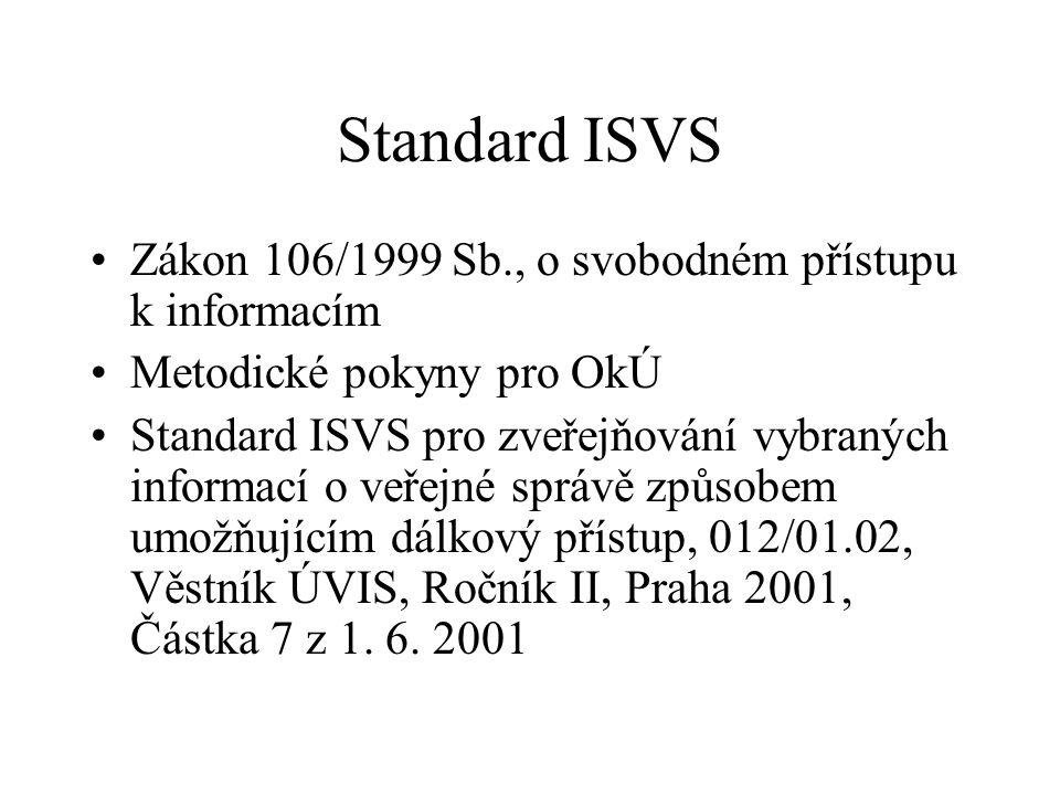 Standard ISVS Zákon 106/1999 Sb., o svobodném přístupu k informacím