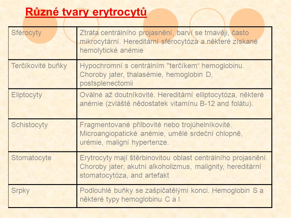 Různé tvary erytrocytů