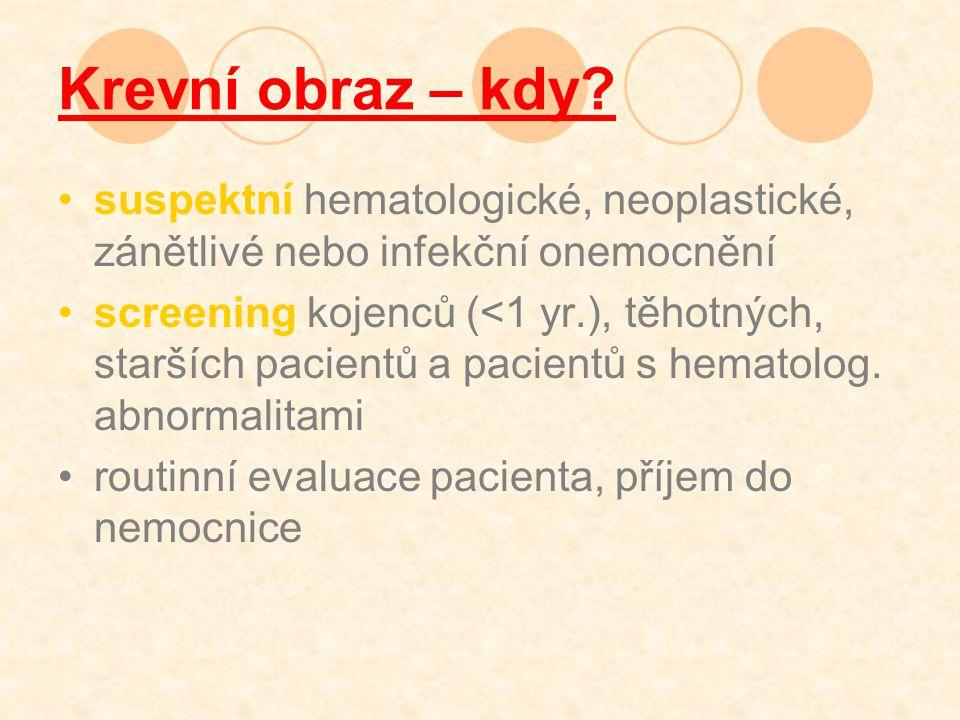 Krevní obraz – kdy suspektní hematologické, neoplastické, zánětlivé nebo infekční onemocnění.
