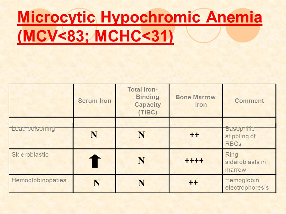 Microcytic Hypochromic Anemia (MCV<83; MCHC<31)