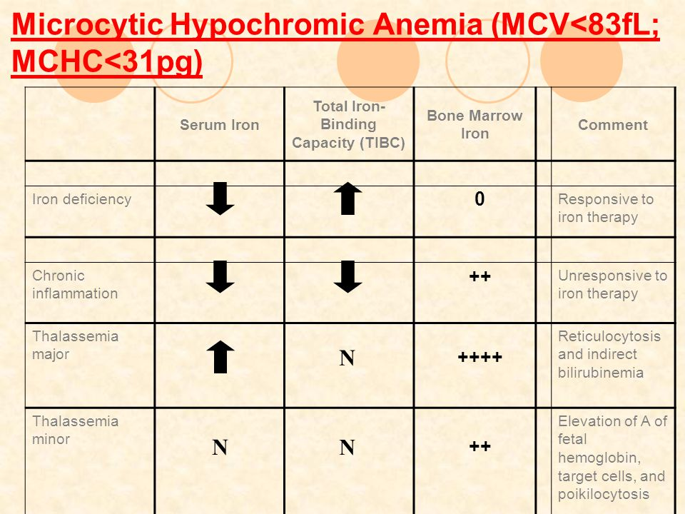 Microcytic Hypochromic Anemia (MCV<83fL; MCHC<31pg)