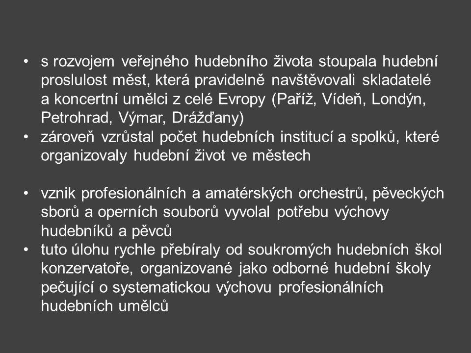 s rozvojem veřejného hudebního života stoupala hudební proslulost měst, která pravidelně navštěvovali skladatelé a koncertní umělci z celé Evropy (Paříž, Vídeň, Londýn, Petrohrad, Výmar, Drážďany)