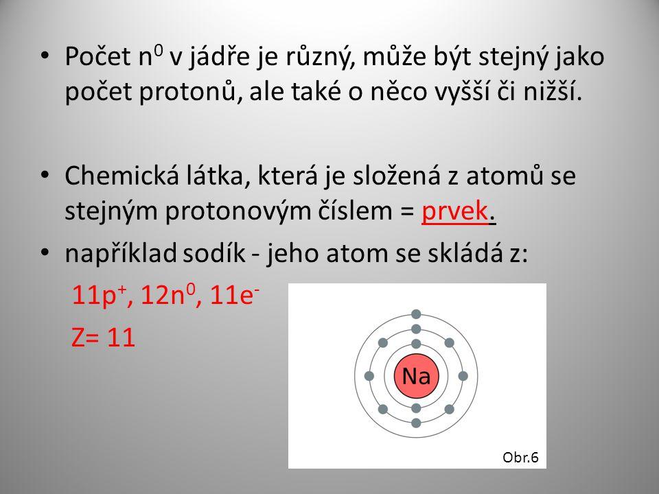 například sodík - jeho atom se skládá z: 11p+, 12n0, 11e- Z= 11