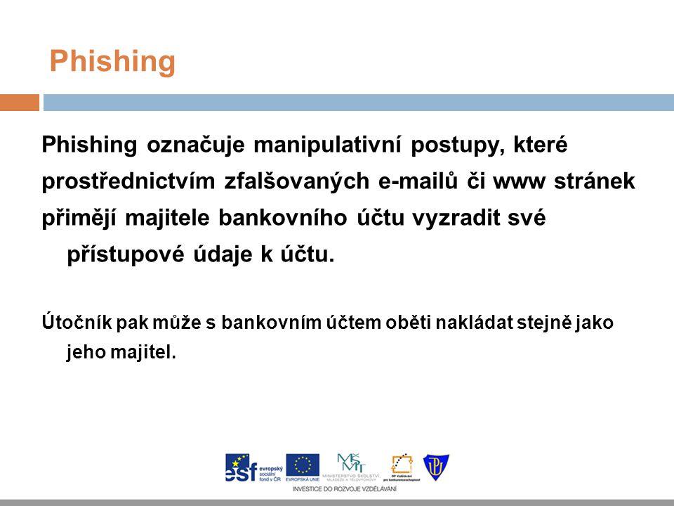Phishing Phishing označuje manipulativní postupy, které