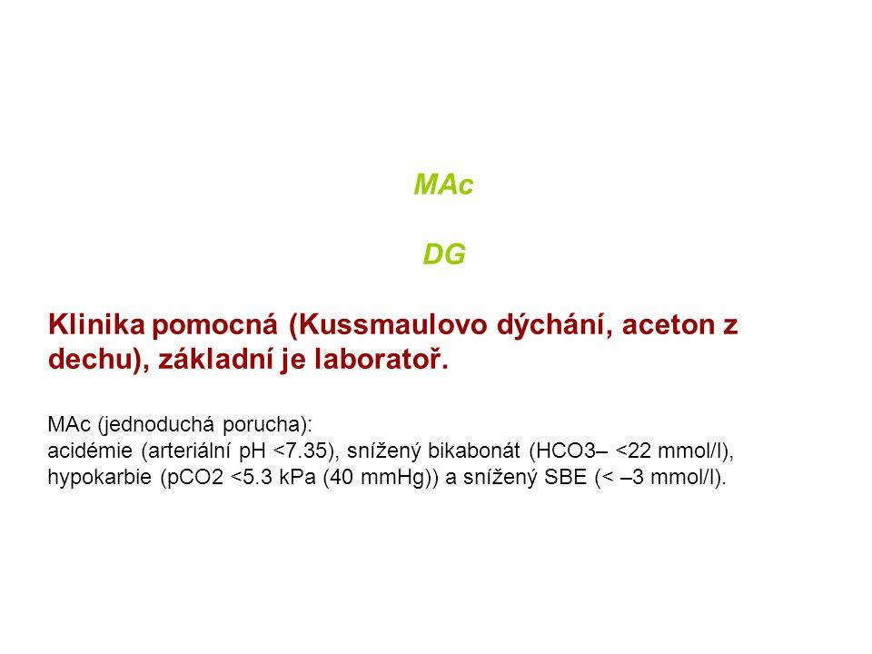 MAc DG. Klinika pomocná (Kussmaulovo dýchání, aceton z dechu), základní je laboratoř. MAc (jednoduchá porucha):