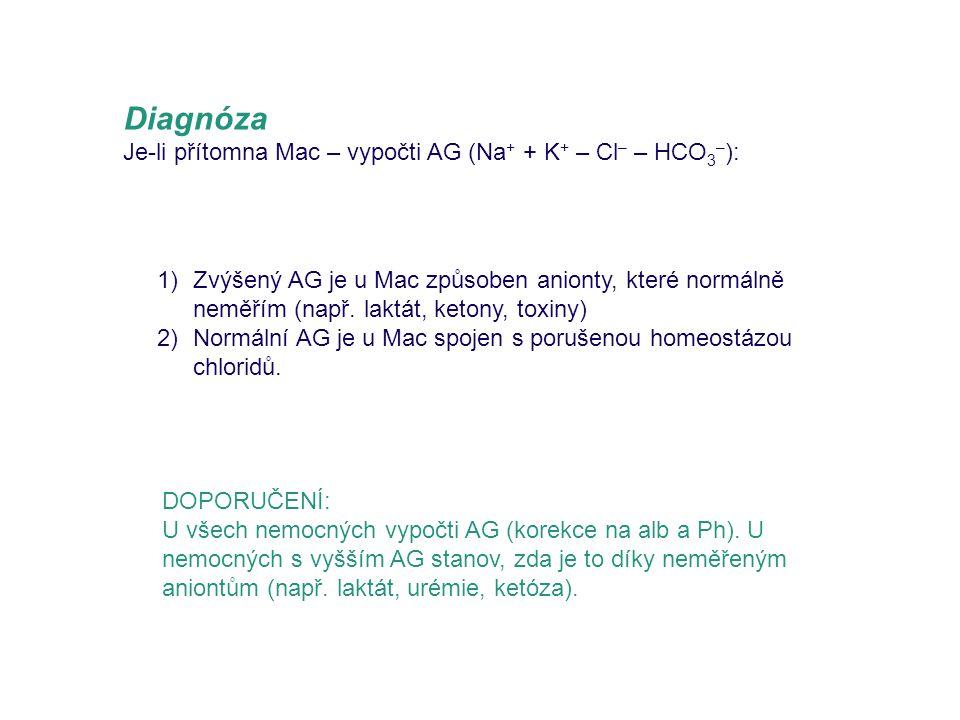 Diagnóza Je-li přítomna Mac – vypočti AG (Na+ + K+ – Cl– – HCO3–):