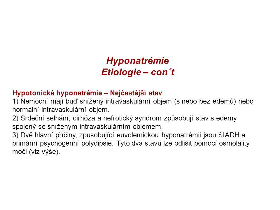 Hyponatrémie Etiologie – con´t