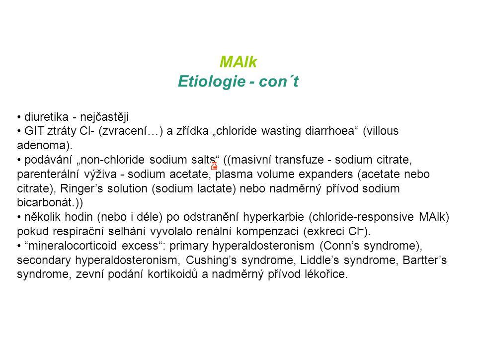MAlk Etiologie - con´t diuretika - nejčastěji