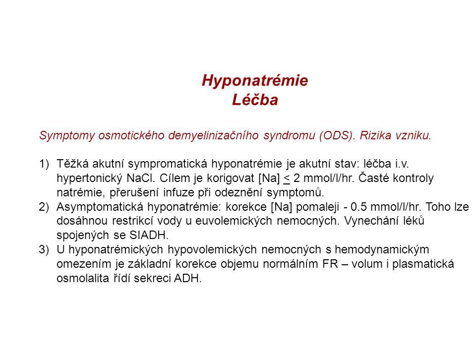 Hyponatrémie Léčba. Symptomy osmotického demyelinizačního syndromu (ODS). Rizika vzniku.
