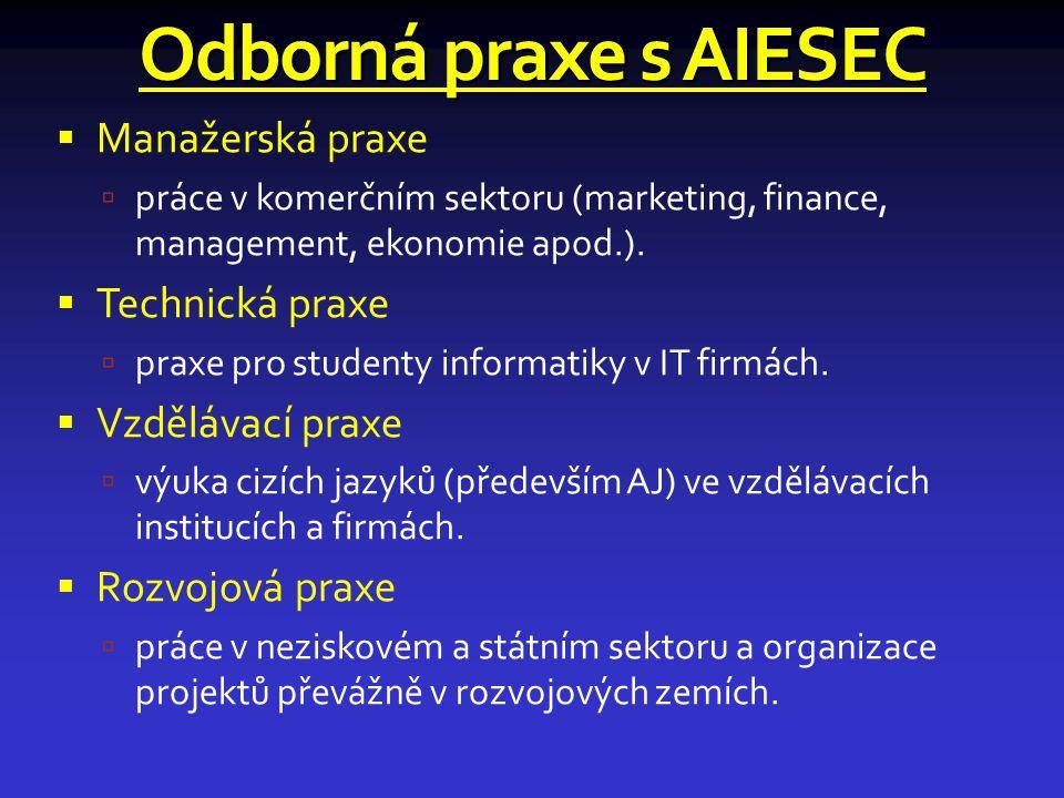 Odborná praxe s AIESEC Manažerská praxe Technická praxe