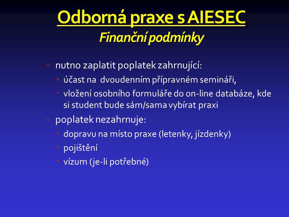 Odborná praxe s AIESEC Finanční podmínky