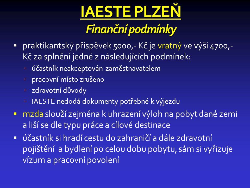IAESTE PLZEŇ Finanční podmínky