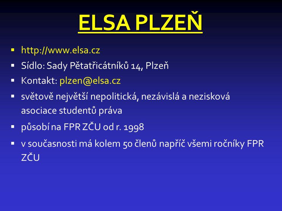 ELSA PLZEŇ http://www.elsa.cz Sídlo: Sady Pětatřicátníků 14, Plzeň