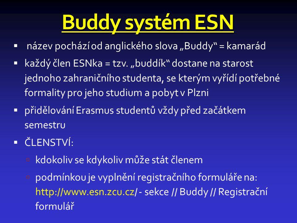 """Buddy systém ESN název pochází od anglického slova """"Buddy = kamarád"""