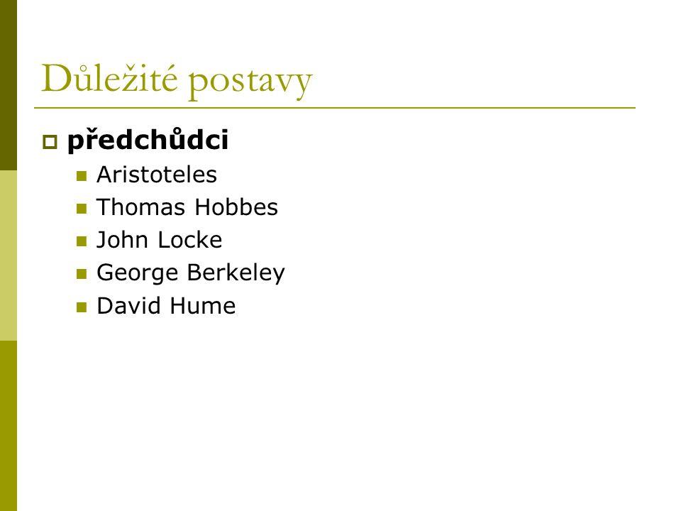 Důležité postavy předchůdci Aristoteles Thomas Hobbes John Locke
