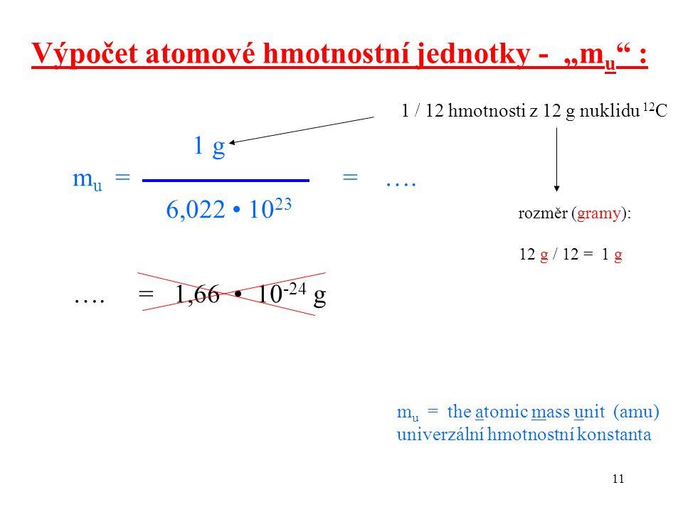 """Výpočet atomové hmotnostní jednotky - """"mu :"""