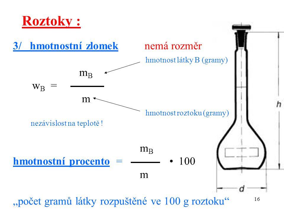 Roztoky : 3/ hmotnostní zlomek nemá rozměr hmotnost látky B (gramy) mB