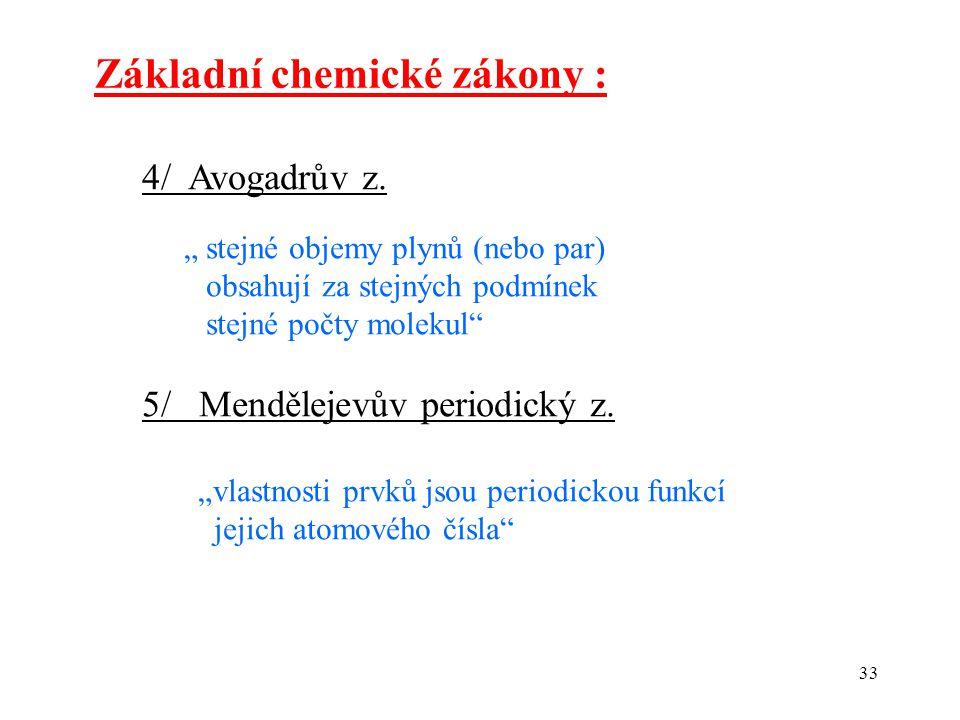 Základní chemické zákony :