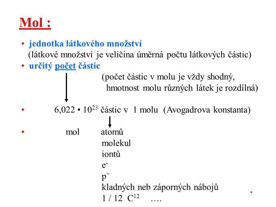 Mol : • jednotka látkového množství