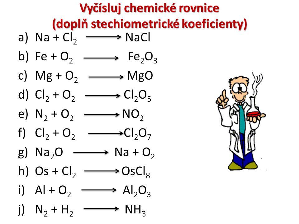Vyčísluj chemické rovnice (doplň stechiometrické koeficienty)